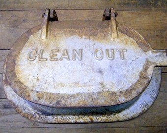Rusty Old Cast Iron Industrial Factory Salvage Clean Out Trap