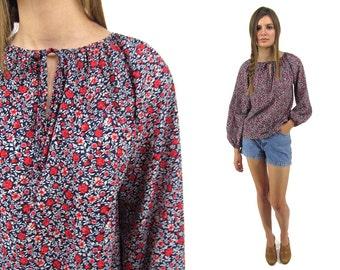 Boho Floral Blouse, Bishop Sleeve, Hippie Blouse, Vintage 80s Blouse Δ size: sm / md