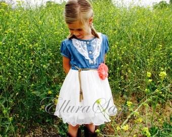 Flower Girl Dress, Denim Flower Girl Dress, Denim Toddler Girl Tutu Dress, Western Cowgirl Dress, Rustic Flower Girl Dress, Country Wedding