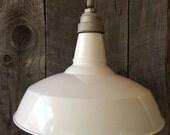 SALE Vintage White Porcelain Industrial Pendant Light