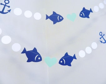 Two Less fish in the Sea Decorations - Fish Garland - Anchor and Heart garland - Nautical Bridal shower Decorations- Nautical Wedding Decor