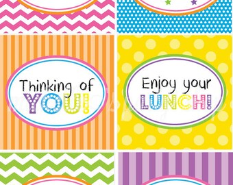 INSTANT DOWNLOAD, Lunch Box Notes, Bright Colors