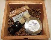 Oatmeal Milk and Honey Cigar Box Deluxe Shave/Shaving Set Kit - Acid Blondie