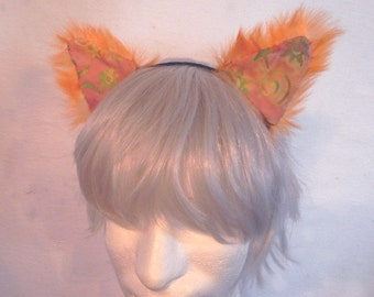 Orange Cat Ears cosplay fuzzy patchwork batik colorful ears headband rave catboy kawaii unisex hair accessory