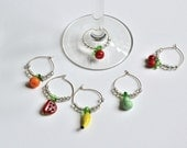 Sale Wine Charms Set of Six lamp work glass fruits with clear glass beads