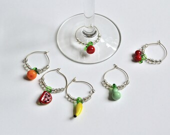 Wine Charms Set of Six lamp work glass fruits with clear glass beads