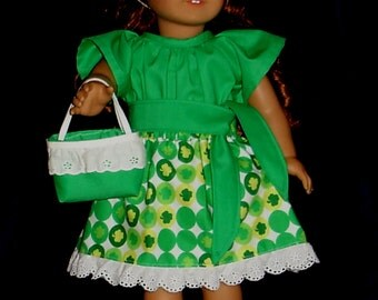 Green & White Shamrock Print Blouse Ruffled Skirt Purse Tie Belt and Headband Set Fits American Girl Dolls or Similar 18 Inch Dolls