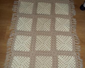 crocheted table runner Crochet fringe, Handmade ecru beige granny square afghan, heavy furniture throw cover 83 x 27..Reduced..WAS 22.99