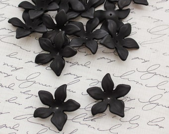 27mm Black Frosted Lucite Flowers - Matte Black