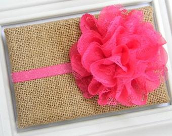 Hot Pink Lace Chiffon Flower Headband - Hot Pink Chiffon Headband - Hot Pink Glitter Headband