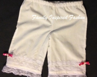 Girls bloomers, modesty pants, pantalettes
