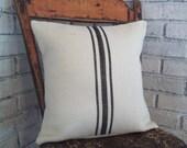 Black Striped Pillow Cover or Choice of Colors, Grain Sack Style Burlap Pillow Cover, Farmhouse Pillow, Rustic Pillow, Vintage Style Decor