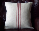 Grain Sack Pillow Cover - Decorative Pillow - with Barn Red Stripes or Choice of Colors - Burlap Pillow - Striped Pillow - Cottage Pillow