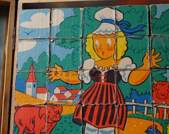 Vintage Play Blocks, Childs Puzzle Bocks, Vintage Toys, Jeujura French Play Blocks, Vintage Nursery Toys, Toy Collectors
