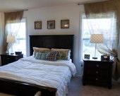 "84"" Pair of Hemmed Burlap Curtain Panels No Odor Burlap Drapes Rustic Farmhouse Style Home Decor"