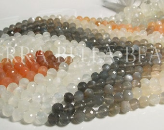 "Full 13"" strand MULTI COLOR MOONSTONE faceted gem stone round beads 6mm grey orange"