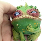 Polymer Clay Swamp Toad Sculpture Creature