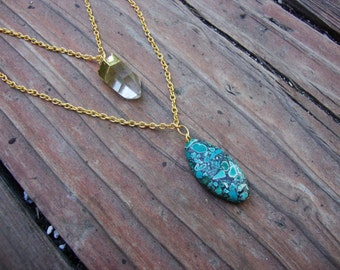 Double chain electroplated quartz and turquoise jasper on gold tone chain