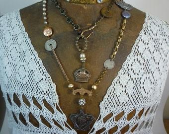 ROYAL CROWNS  antique vintage assemblage double wrap necklace