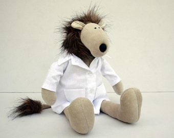 Professor Lion - Hairy Lion Plushie wearing doctor's white coat