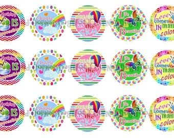 "1"" Love Comes In Many Colors Bottle Cap Image Sheets Party Favors Cupcake Topper Magnet Stickers Printables Bottlecap Instant Download."