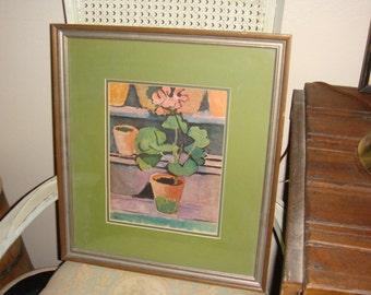 Vintage Potted Geranium Framed Print Green Matte