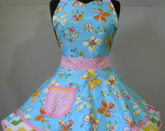 Womens Apron-Spring Floral and Butterflies Flounce Apron