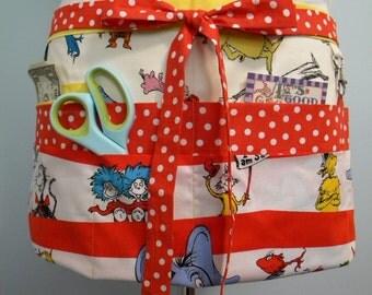 Teacher Apron-Crafter Vendor Utility Apron-Dr. Seuss Characters