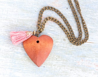Wooden Heart and Pink Tassel Necklace - Love Pendant on Brass Chain