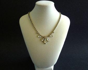 Vintage Rhinestone Necklace, Crystal Rhinestone Necklace