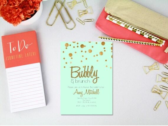 b81b678f3338 Champagne brunch bridal shower invitation printable   bridal shower brunch  invitation   mint and gold champagne shower invite   mint gold