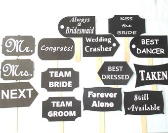 Wedding Signs Photo Booth Props 14 pcs