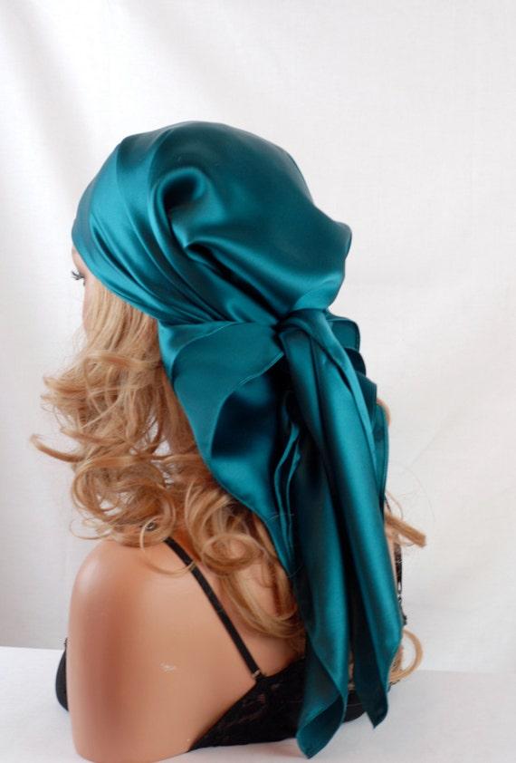 silk charmeuse scarf sleep or bandana scarf peacock blue