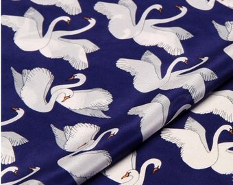 beautiful unique smooth  pair of big white swan blue background silk fabric 0.5yard for diy dress
