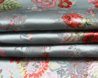 red pink blue white chinese vintage folk big peony pattern tapestry satin brocade fabric by yard