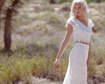 "Bohemian Wedding, Maxi Dress, Crochet Lace, White, Ivory, Two Piece, Short Sleeve - ""Jude"""
