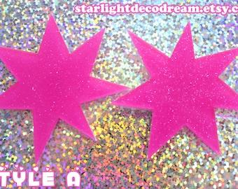 Jem and the Holograms Inspired Glittering Pink Sunburst Earrings for Magical, 80s Nostalgia, Fairy Kei Looks