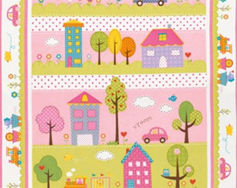 25121 - Dena Designs Happi PWDF143  - Quilt panel in pink    - 1 yard
