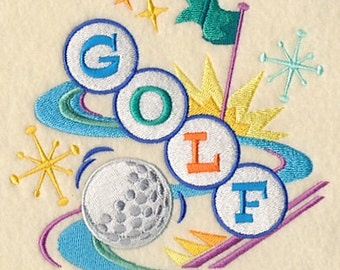 Retro Golf on the Green Embroidered Flour Sack Hand/Dish Towel
