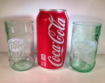 Recycled Dr Pepper Bottle Glasses - Mini - Set of 2