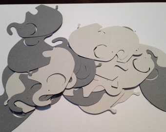 50 Large Gray Dark Gray Elephant Cutout Punch Die Cut Embellishment Cupcake Topper
