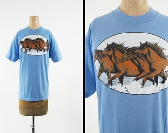Vintage 80s Wild Horses T-shirt Sky Blue Stallion Horse Herd Screen Stars - XL