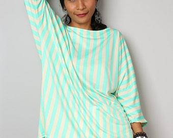 Striped Top / Trendy Blouse Tunic / Soft Green and Cream Top : Urban Chic Collection No.32
