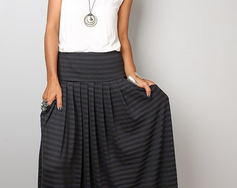 Maxi Skirt - Striped Skirt - Long Black and Grey Striped Skirt : Urban Chic Collection No.2w
