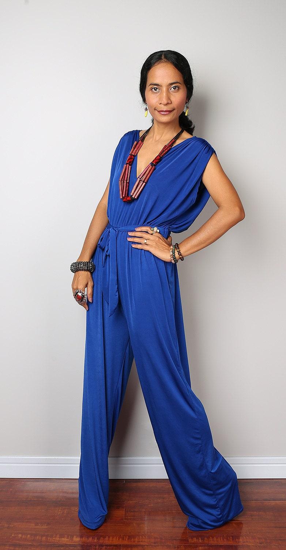jumpsuit dress royal blue sleeveless jumper dress classy