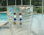 1 Pair Silver-Patriotic-4th Of July-Red, White & Blue Glass-Star Dangle Earrings