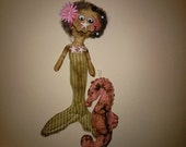 Extreme Primitive Mermaid Seahorse Art Dolls Handmade Folk Art TOSCOFG
