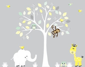 White tree decal, childrens wall decal, jungle animal decal
