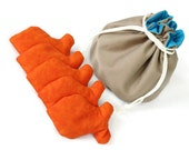 Bucket Bag Khaki & Aqua with Goldfish Shaped Bean Bags (set of 5) Orange Upcycled Twill Jeans - US Shipping Included