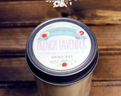 French Lavender Soy Wax Candle - 100% Natural Essential Oil in 8 oz. Jelly Jar - Mother's Day, Relaxing, Housewarming, Home, Hostess Gift